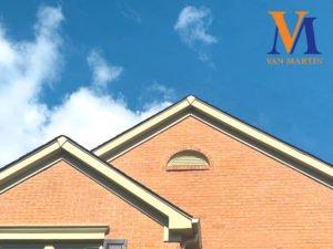 roof, gutters, clouds, Van Martin logo