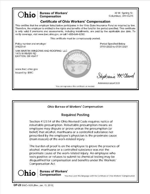 Van Martin Workers' Comp. Certificatevalid thu 7-1-21